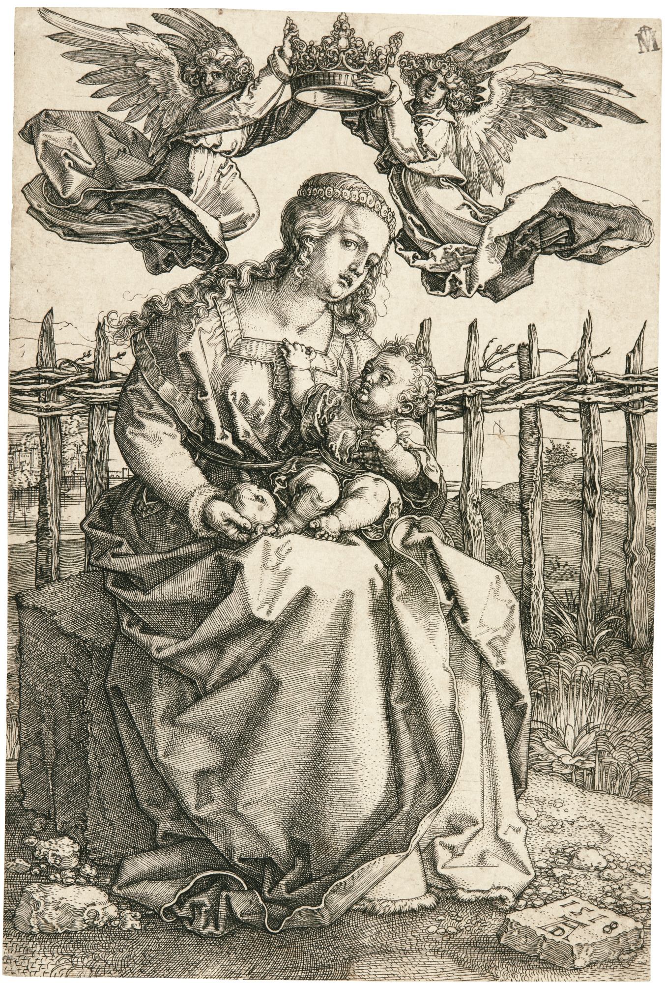 Albrecht Durer-The Virgin And Child Crowned By Two Angels (B. 39; M., Holl. 38)-1518