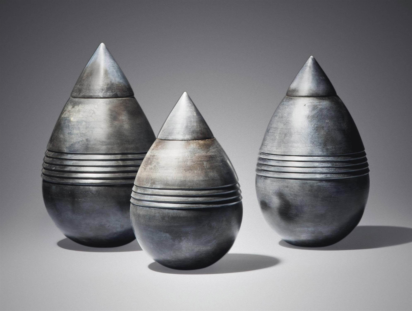 Chuma Maweni-'Smoked Teardrop', A Group Of Three Unique Vases, 2016-2016