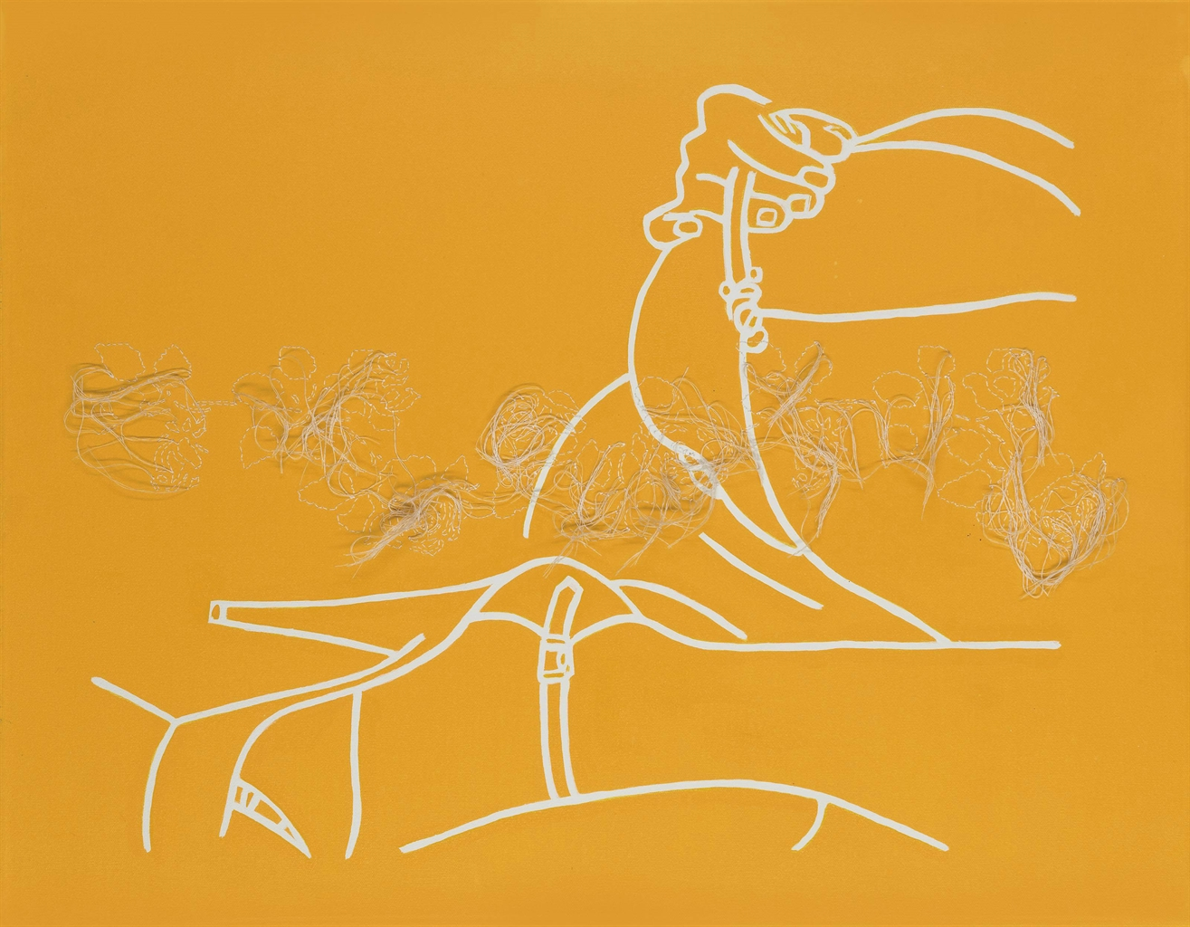 Ghada Amer-Untitled (Femme Allongee Jaune/ Fleurs Blanches)-1997