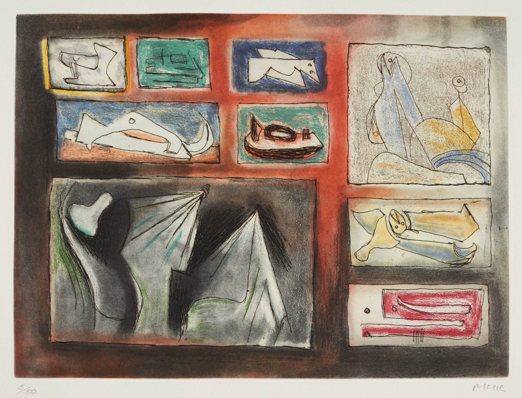 Henry Moore-Sculptural Ideas 1 (C. 580–586)-1980