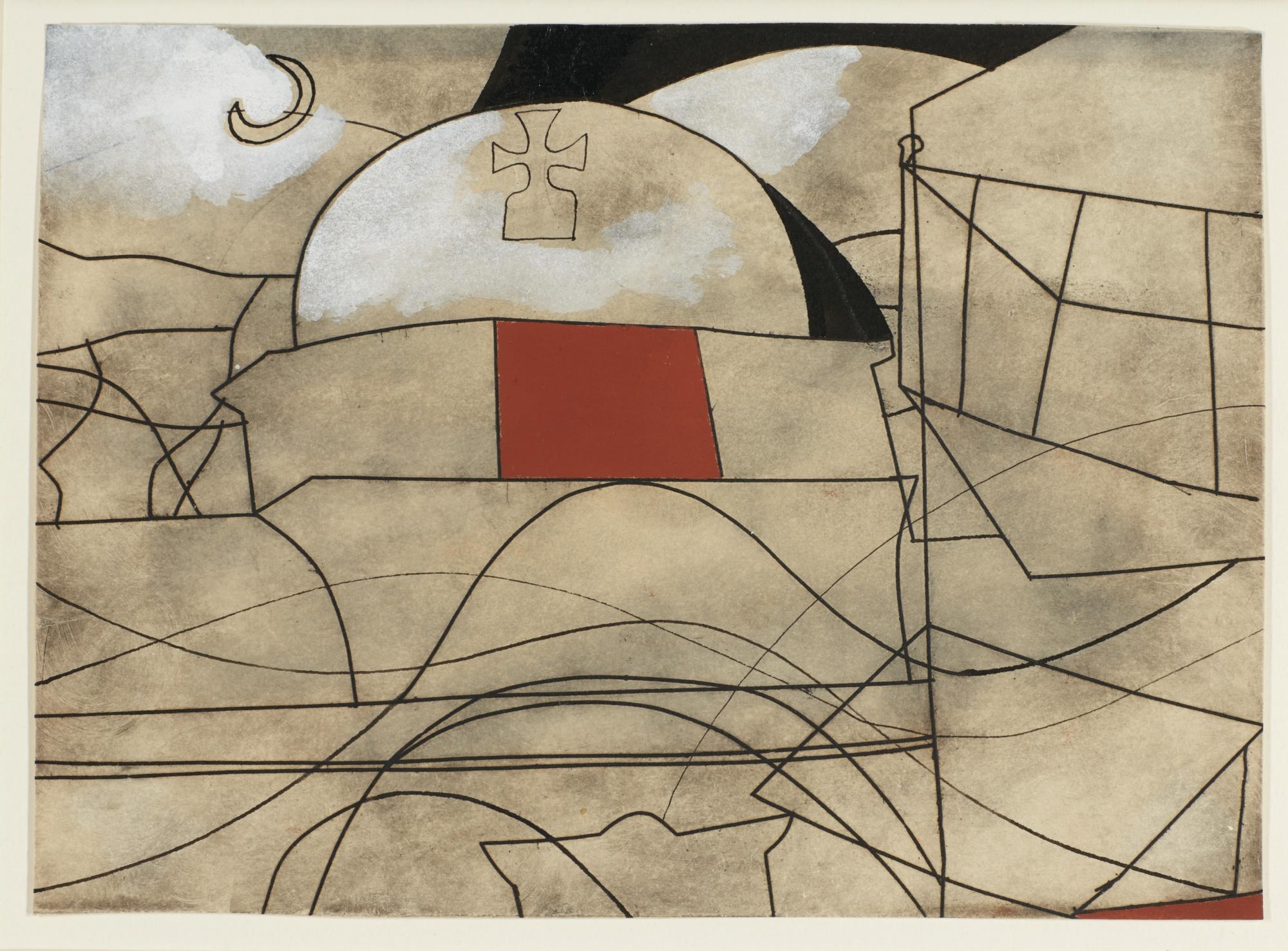 Ben Nicholson-(Paros With Moon) Variation On A Theme No. 2-1967