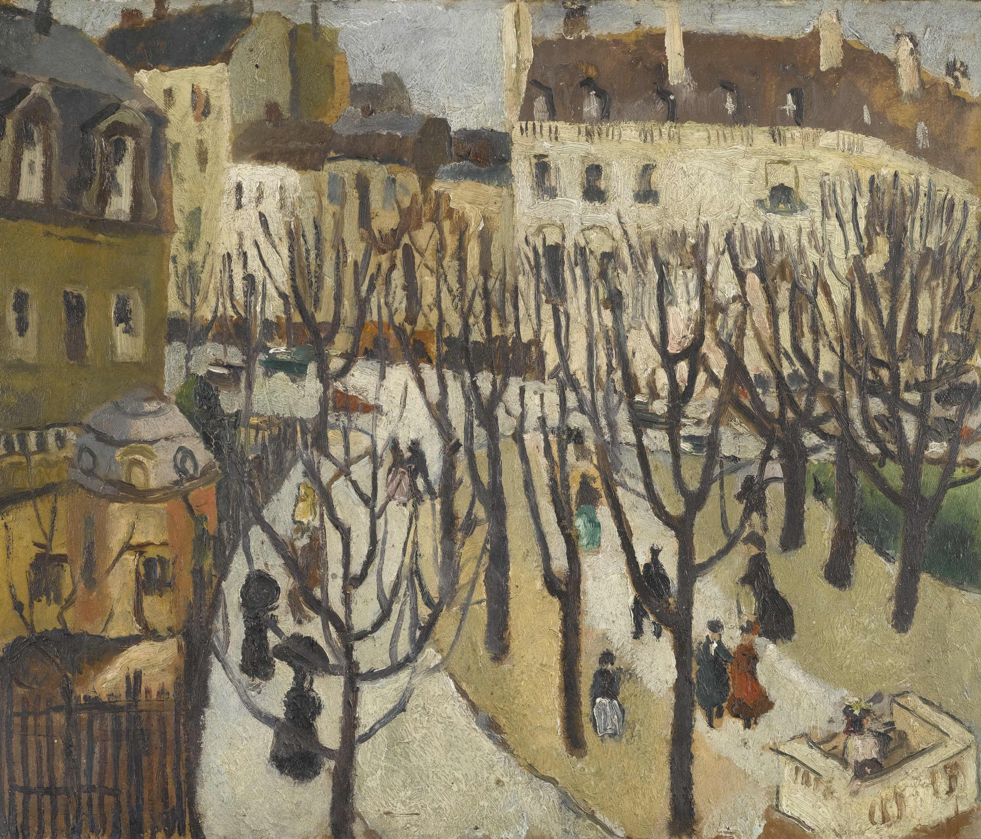 Christopher Wood-Paris Square, Bare Trees-1925