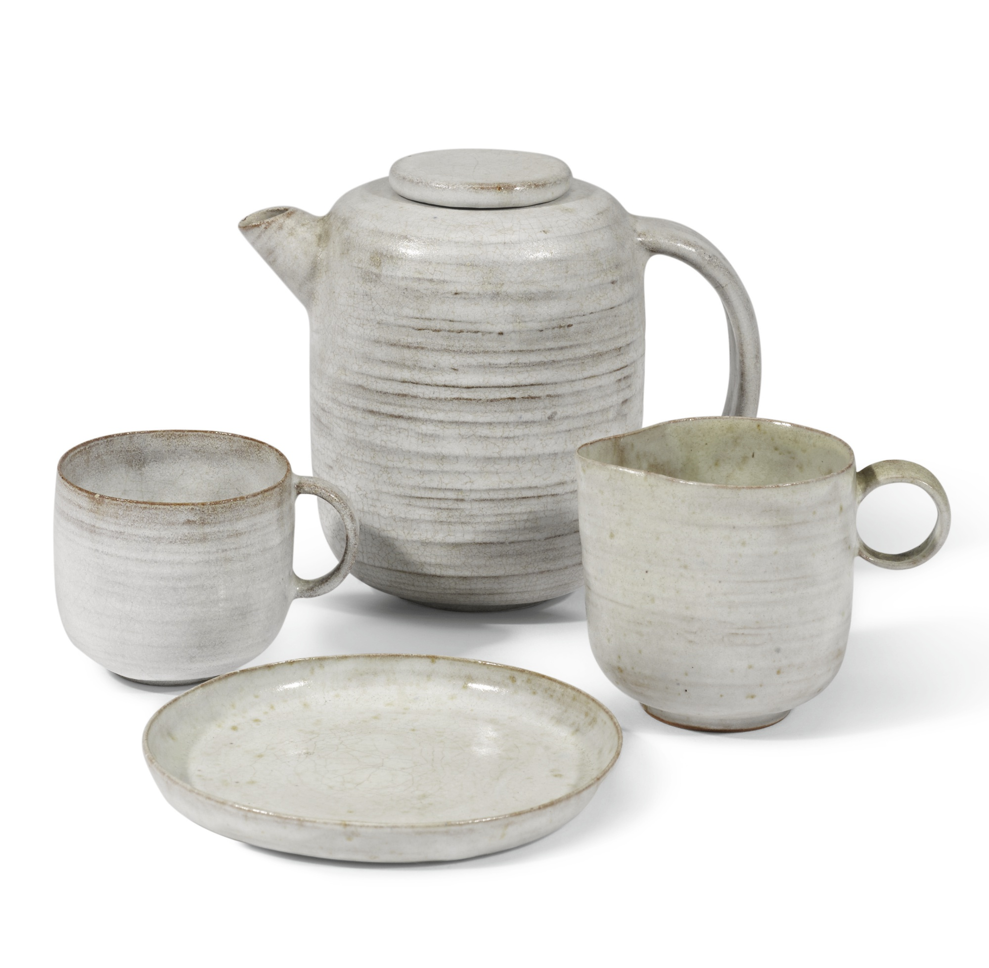 Lucie Rie-An Early Tea Set (Comprising Of A Teapot, Jug, Cup And Saucer)-1930