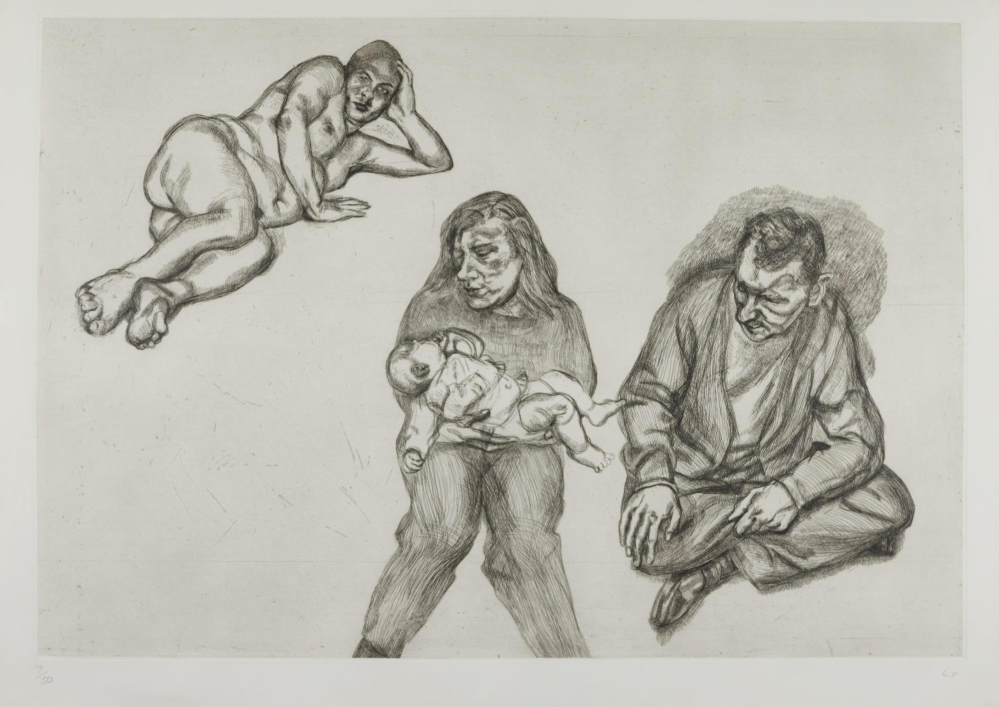 Lucian Freud-Four Figures (H. 42)-1991