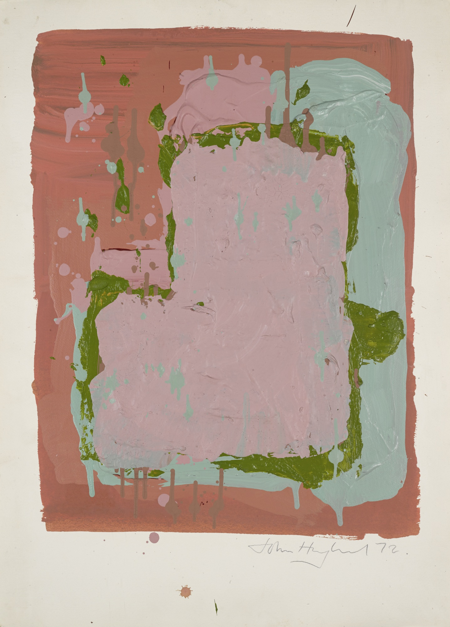 John Hoyland-Untitled: Pink And Green-1972