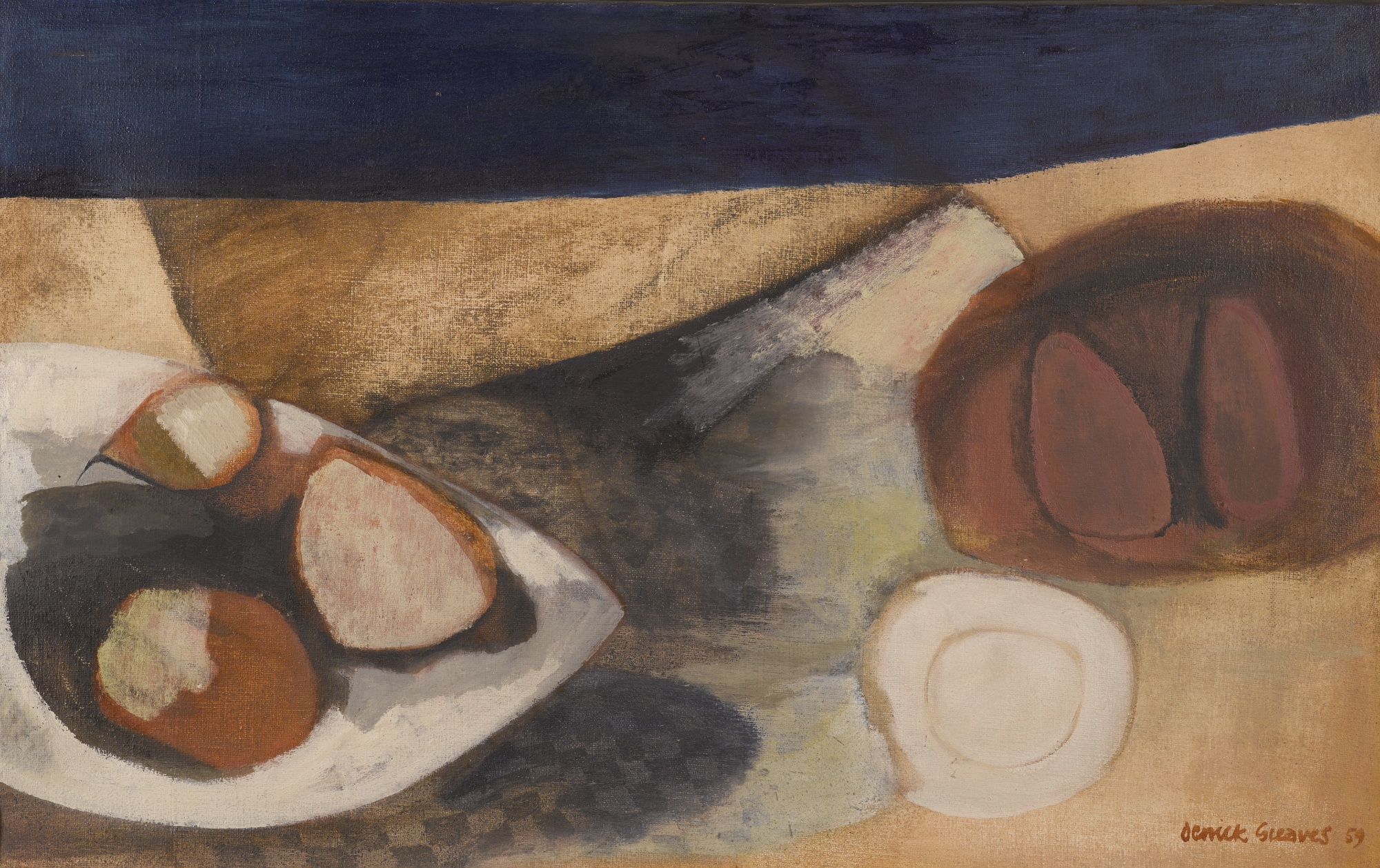 Derrick Greaves-Fruit On A Table-1959