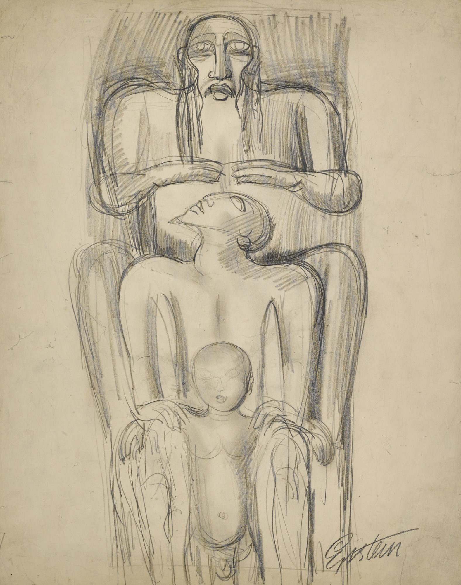 Jacob Epstein-The Father, The Son And The Patriarch-