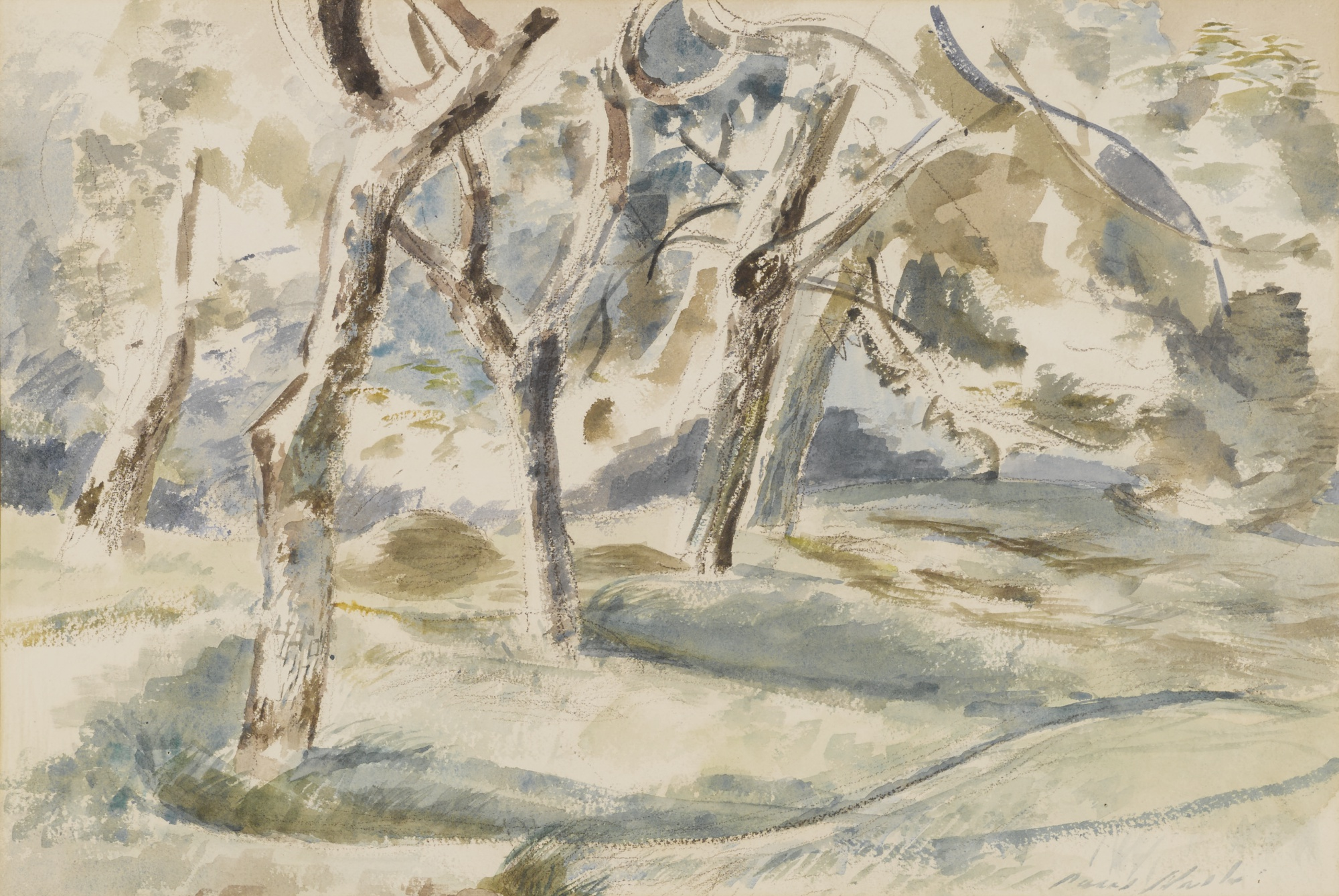 Paul Nash-Orchard At Madams, Summer Study-1941