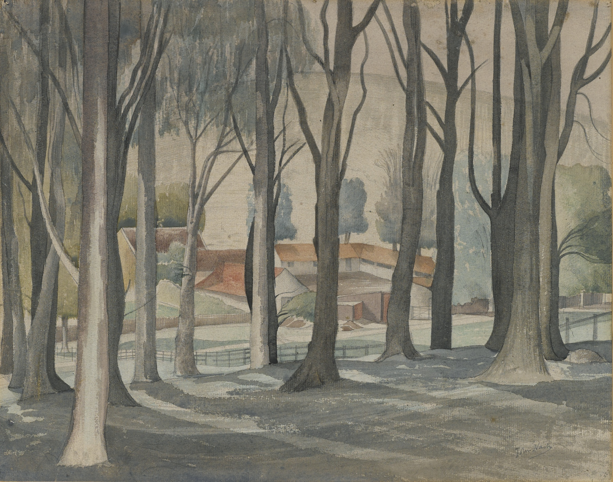 John Nash-Farm Through Trees-1923
