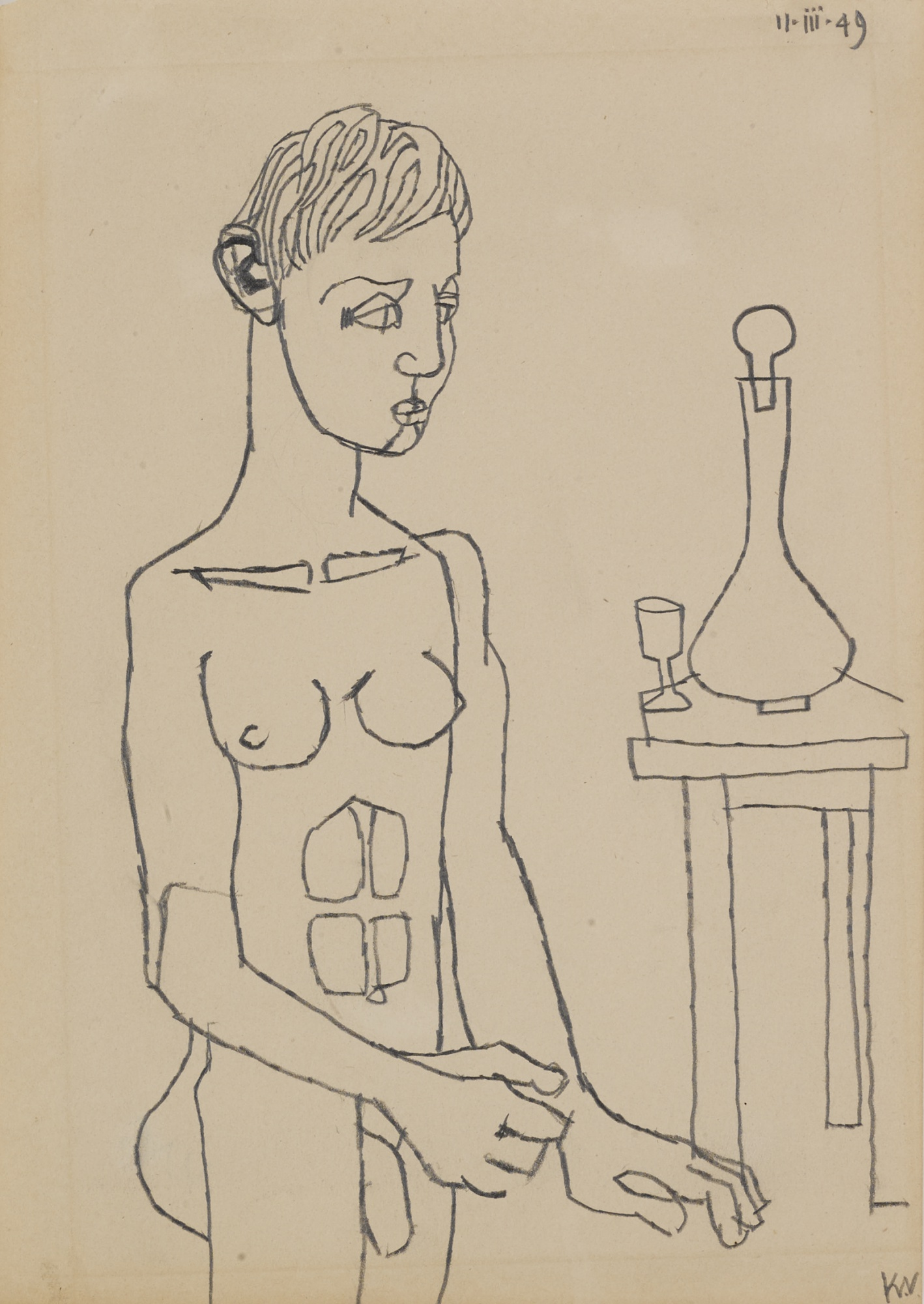 Keith Vaughan-Nude Boy With Decanter And Glass-1949