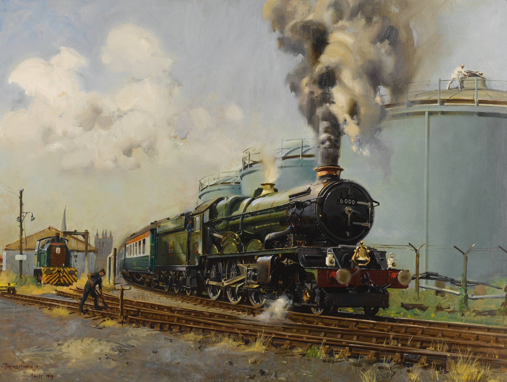 Terence Cuneo-King George V Steam Locomotive At The Bulmers Cider Mill, Hereford-1969