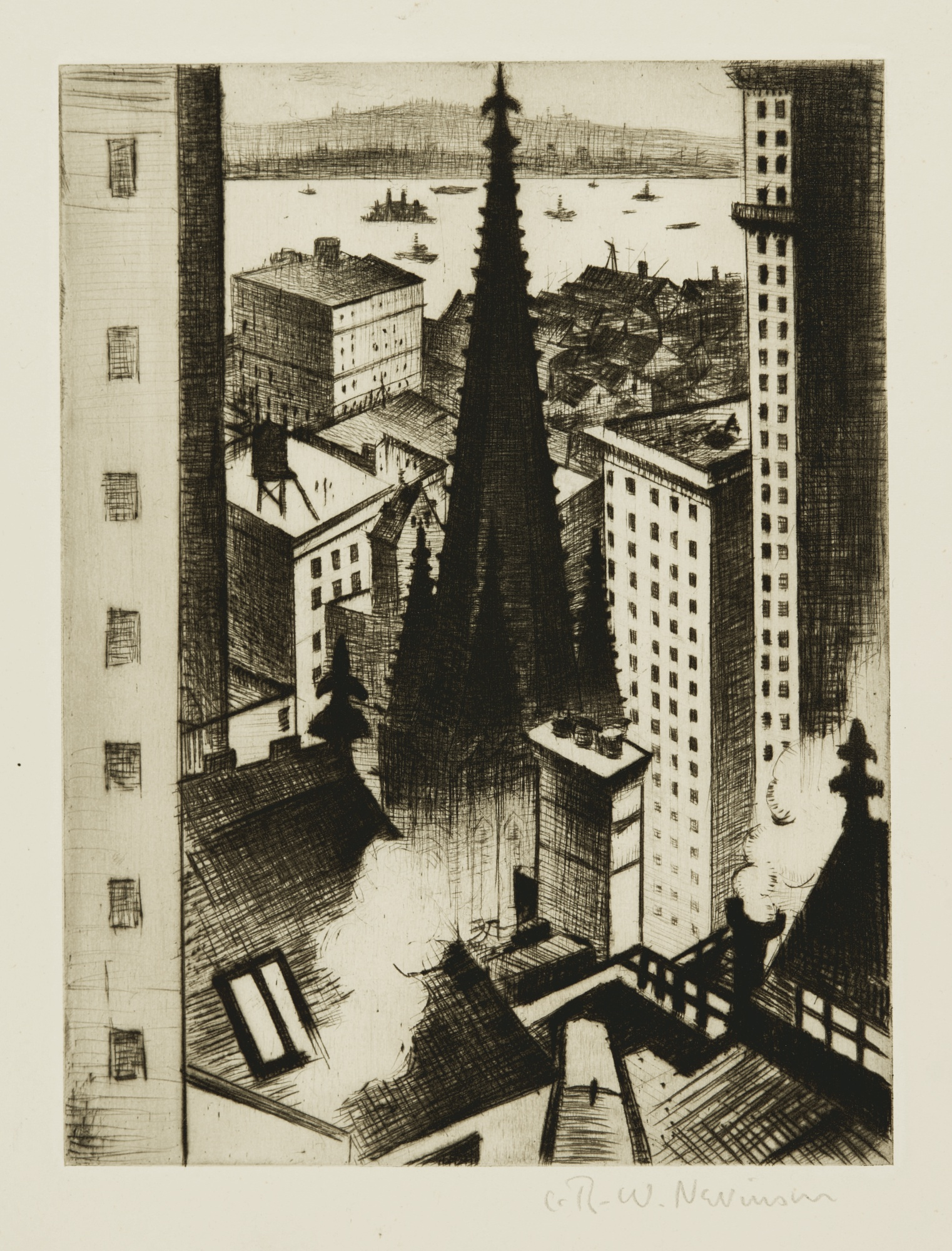Christopher R. W. Nevinson-The Temples Of New York (B. 55)-1919