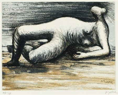 Henry Moore-Sketchbook Edition B: Reclining Nude (C. 670)-1983
