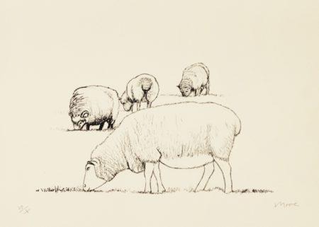 Henry Moore-Four Grazing Sheep (C. 389)-1974