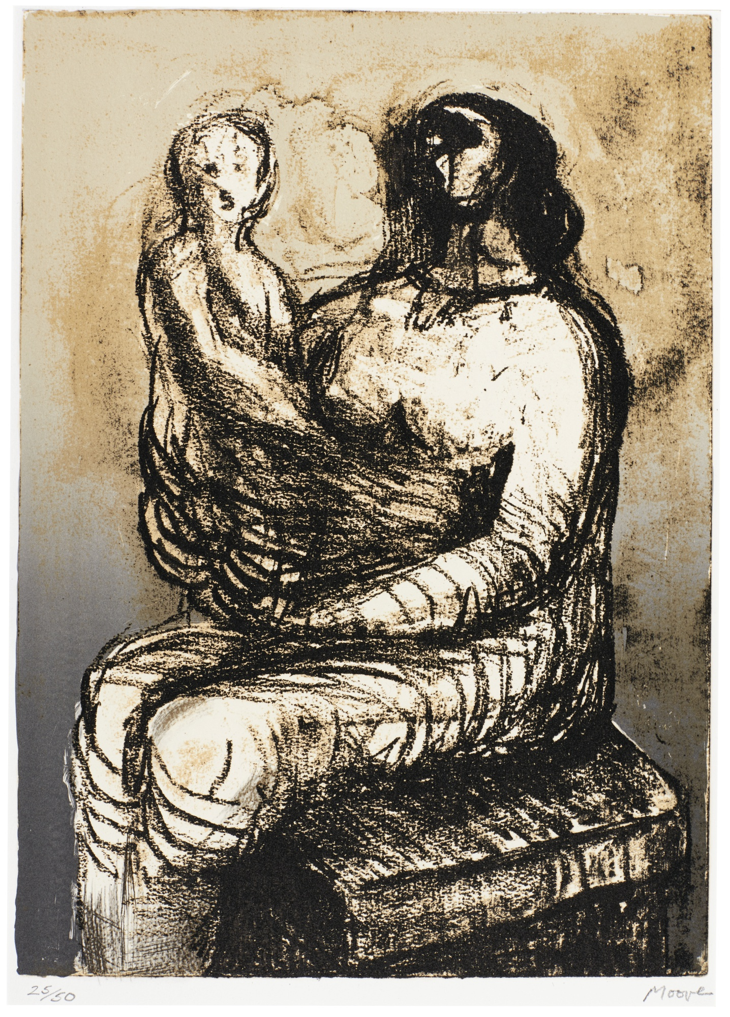 Henry Moore-Mother With Child On Lap (C. 651)-1982