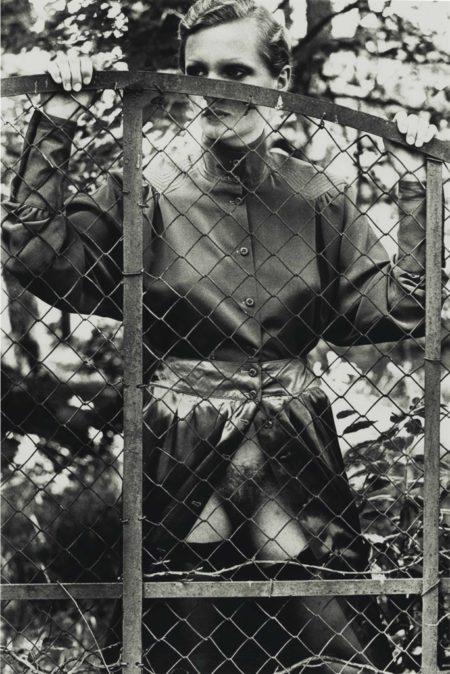 Helmut Newton-Roselyne Behind Fence, Arcangues, France-1975