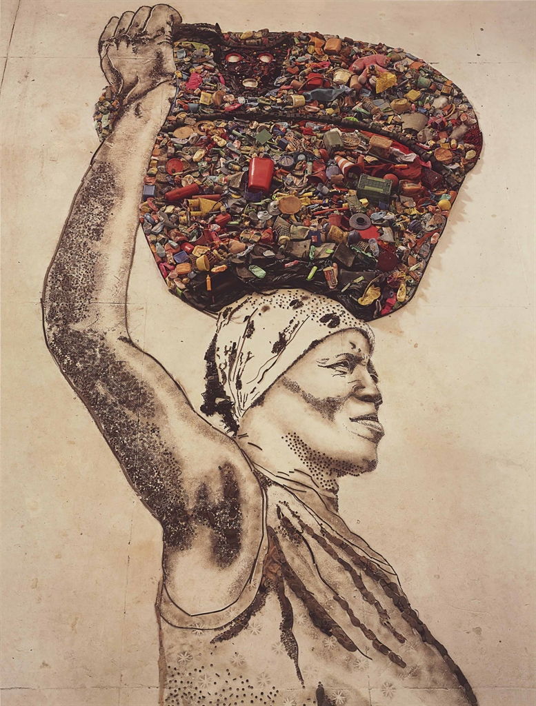 Vik Muniz-The Bearer (Irma), From Pictures Of Garbage-2008