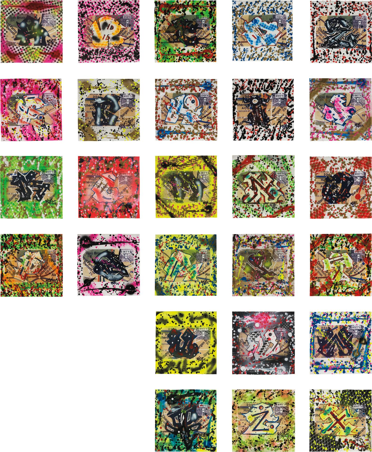 Rammellzee-Wild Style Letter A, B, C, D, E....(26 Paintings From Letter A To Z)-2008