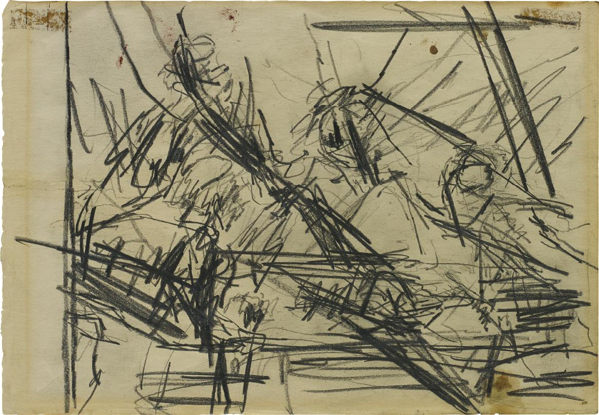 Frank Auerbach-Sketch – Four Figures At A Table-