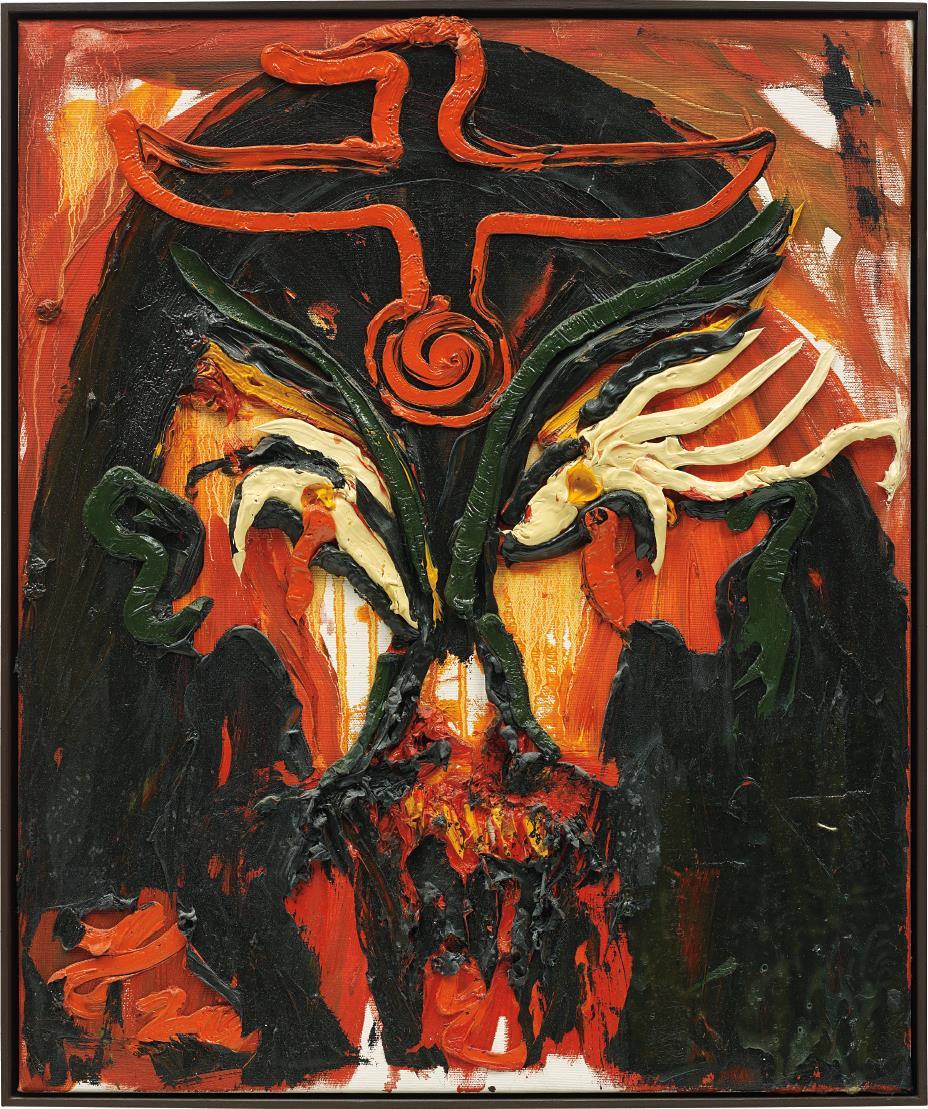 Jonathan Meese-Pharao Messegurke Mit Tinten-Fischaugen, Im Sakrophagys De Pflaumenmus-2003