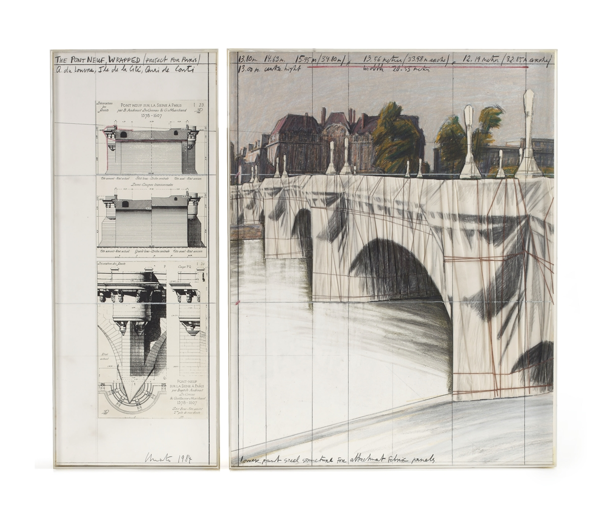 Christo and Jeanne-Claude-The Pont Neuf, Wrapped (Project For Paris)-1984