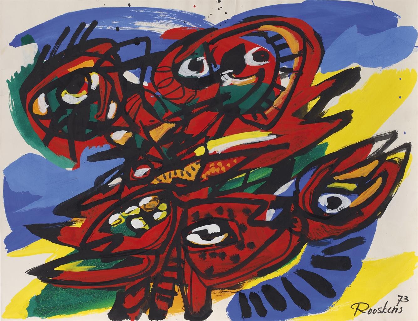 Anton Rooskens-Figuur Met Vogel (Figure With Bird)-1973