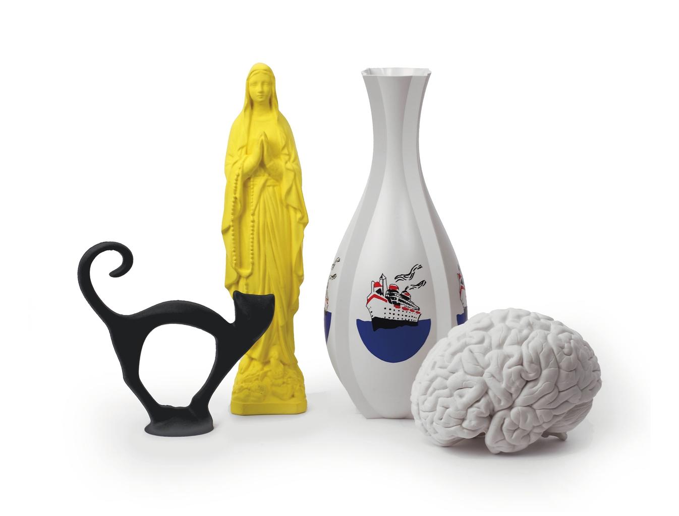 Katharina Fritsch-(i) Katze (Cat); (ii) Madonnenfigur (Madonna Figure); (iii) Gehirn (Brain); (iv) Vase Mit Schiff (Vase With Ship)-1989