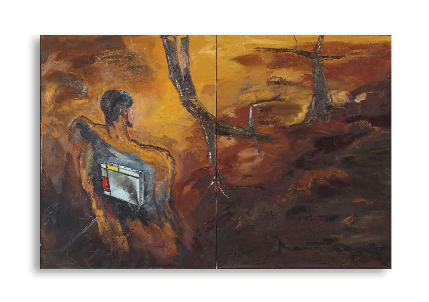 Volker Tannert-Untitled (Figur Mit Mondrian-Bild) (Figure With Mondrian Painting)-1984