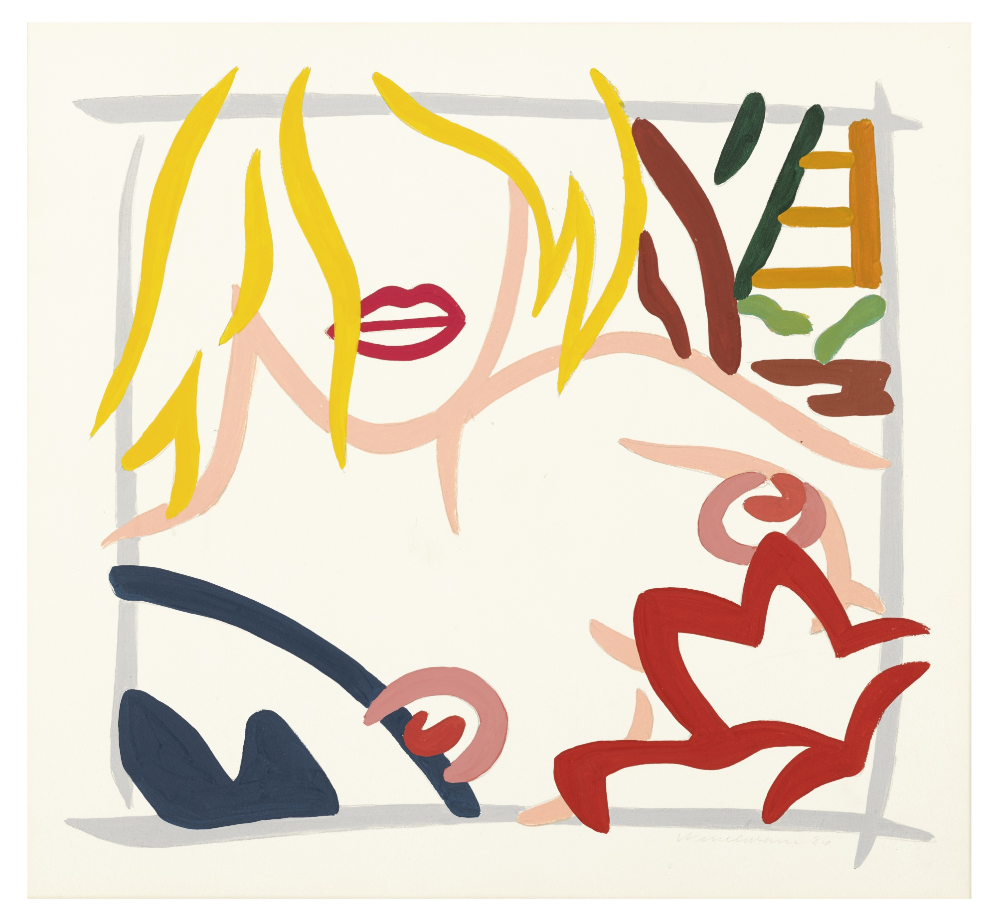 Tom Wesselmann-Study For Bedroom Blonde With Necklace (No Necklace)-1986
