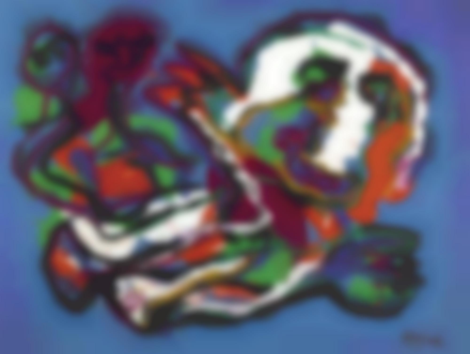 Karel Appel-Figures In Blue Background-1987