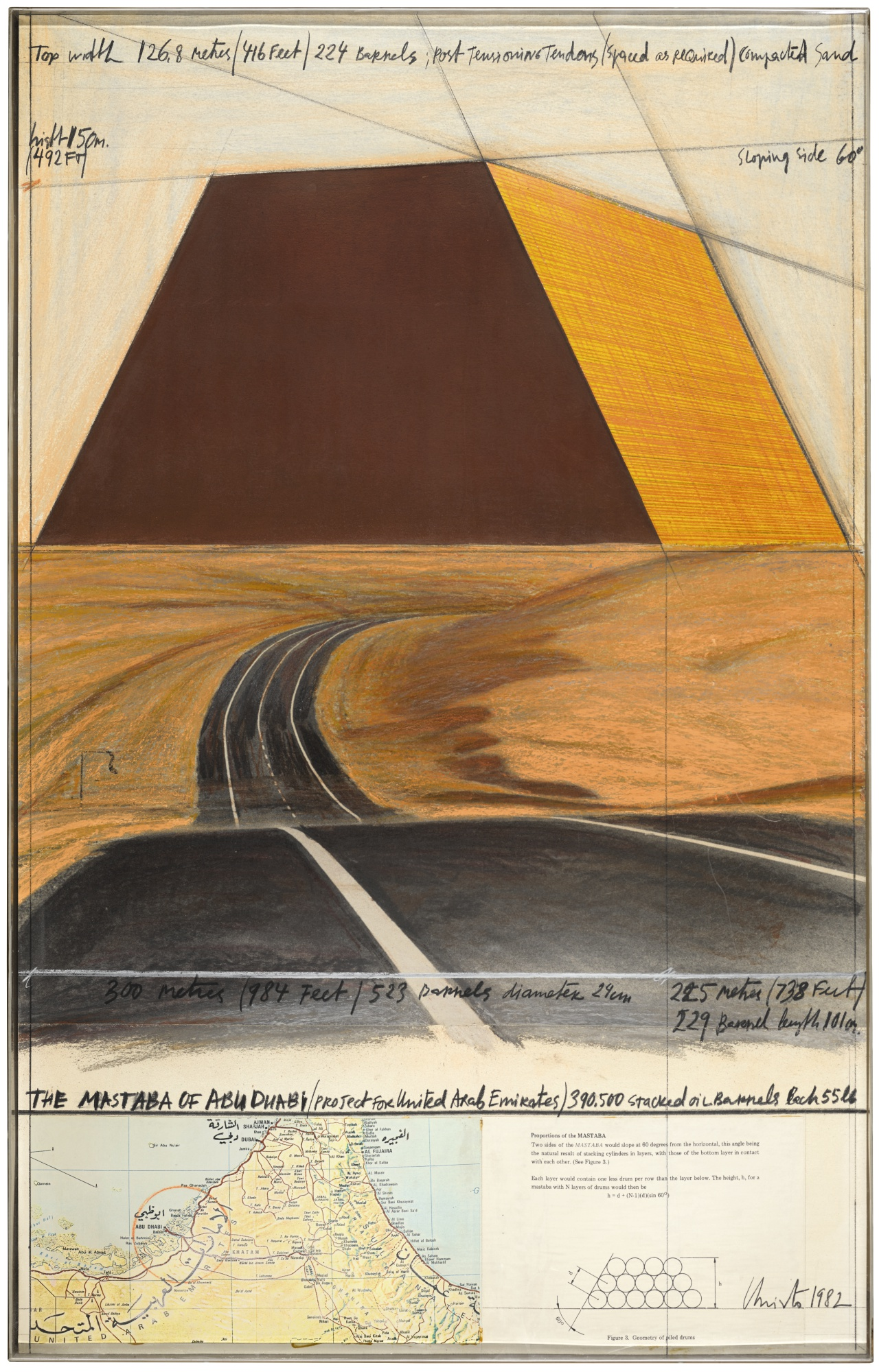 Christo and Jeanne-Claude-The Mastaba Of Abu Dhabi (Project For United Arab Emirates)-1982