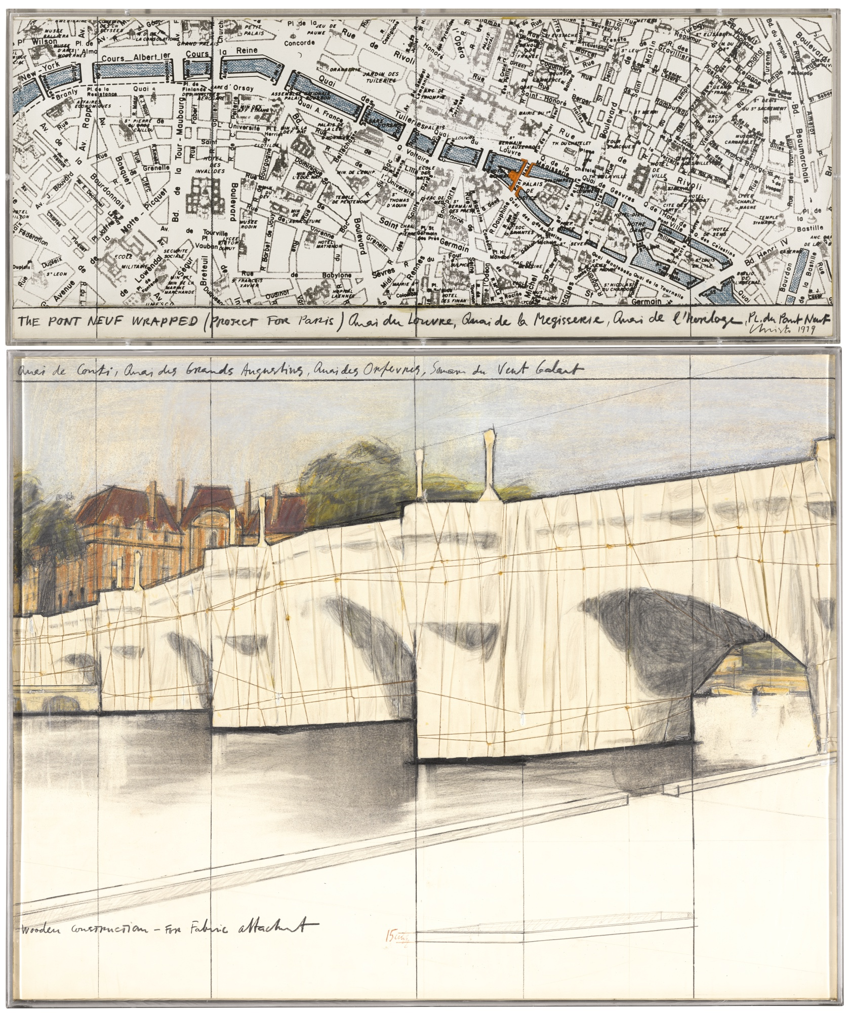 Christo and Jeanne-Claude-The Pont Neuf, Wrapped (Project For Paris)-1979