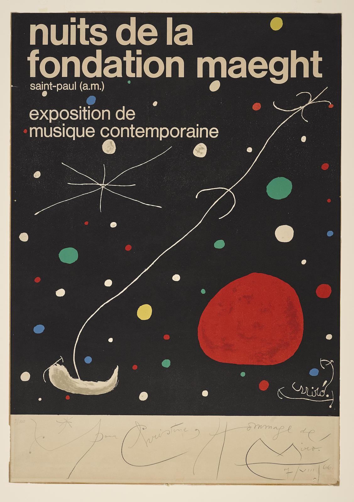 Joan Miro-Nuits De La Fondation Maeght Exhibition Poster (P. 21)-1965