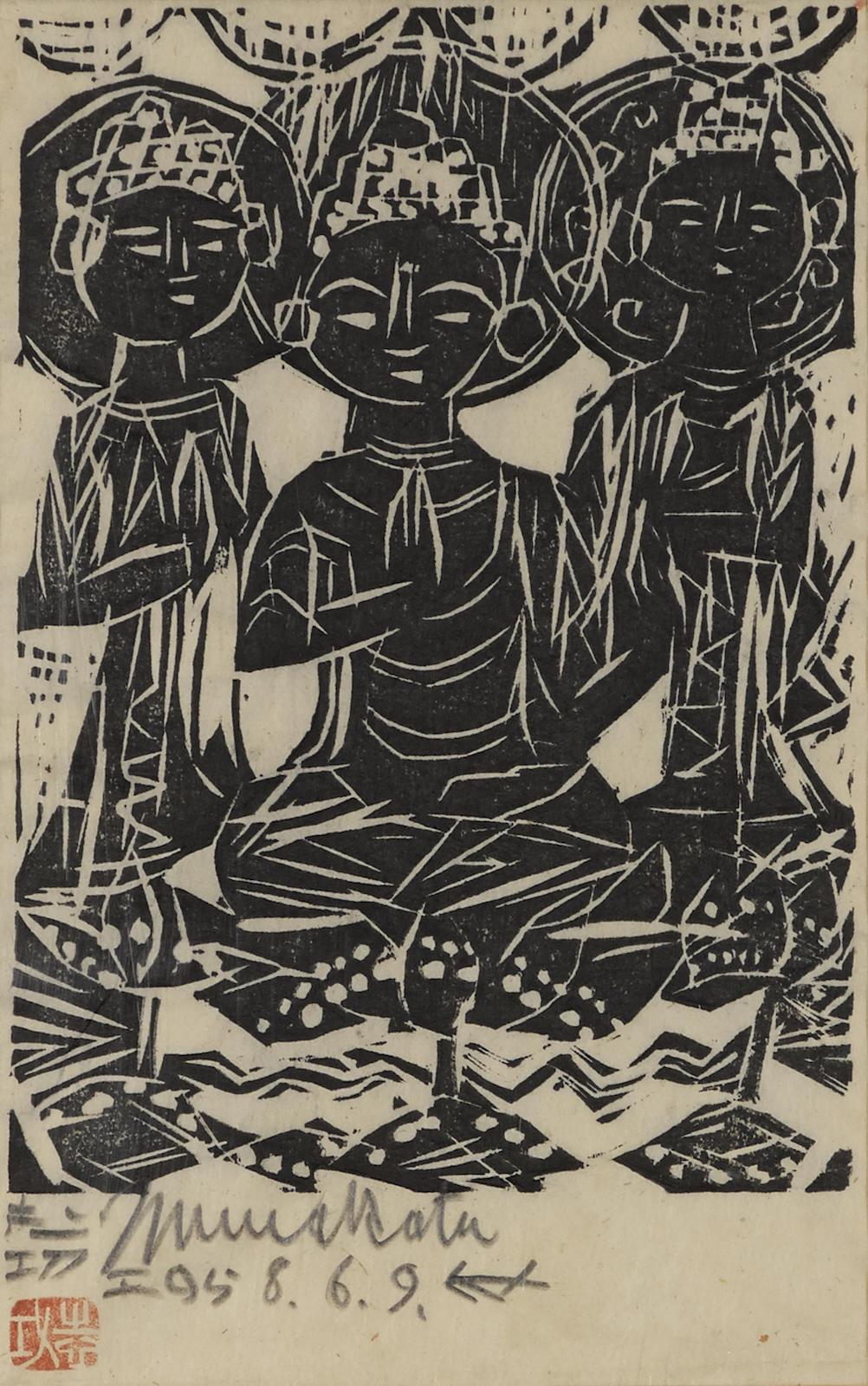 Shiko Munakata-Three Seated Deities-1958