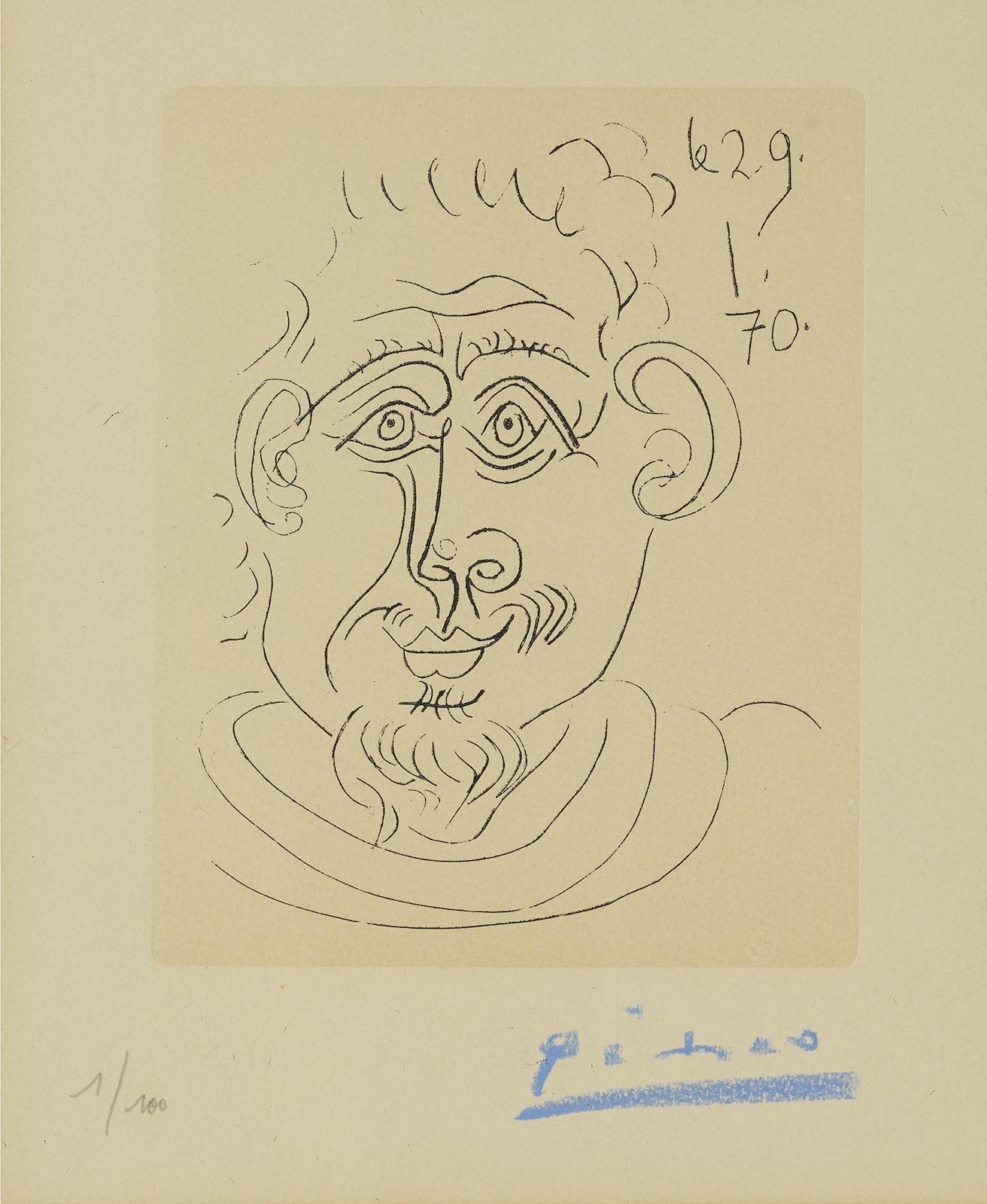 Pablo Picasso-Tete Dhomme Au Bouc (Not In Bloch; Ba. 2024)-1970