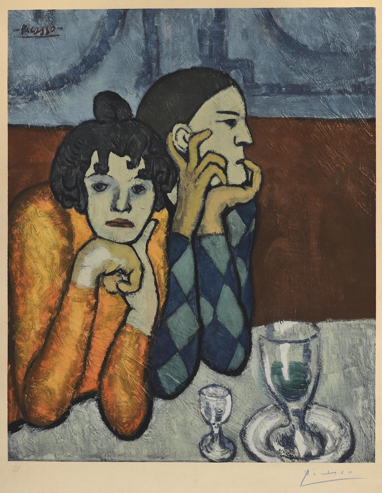 Pablo Picasso-After Pablo Picasso - Larlequin Et Sa Compagne-1960