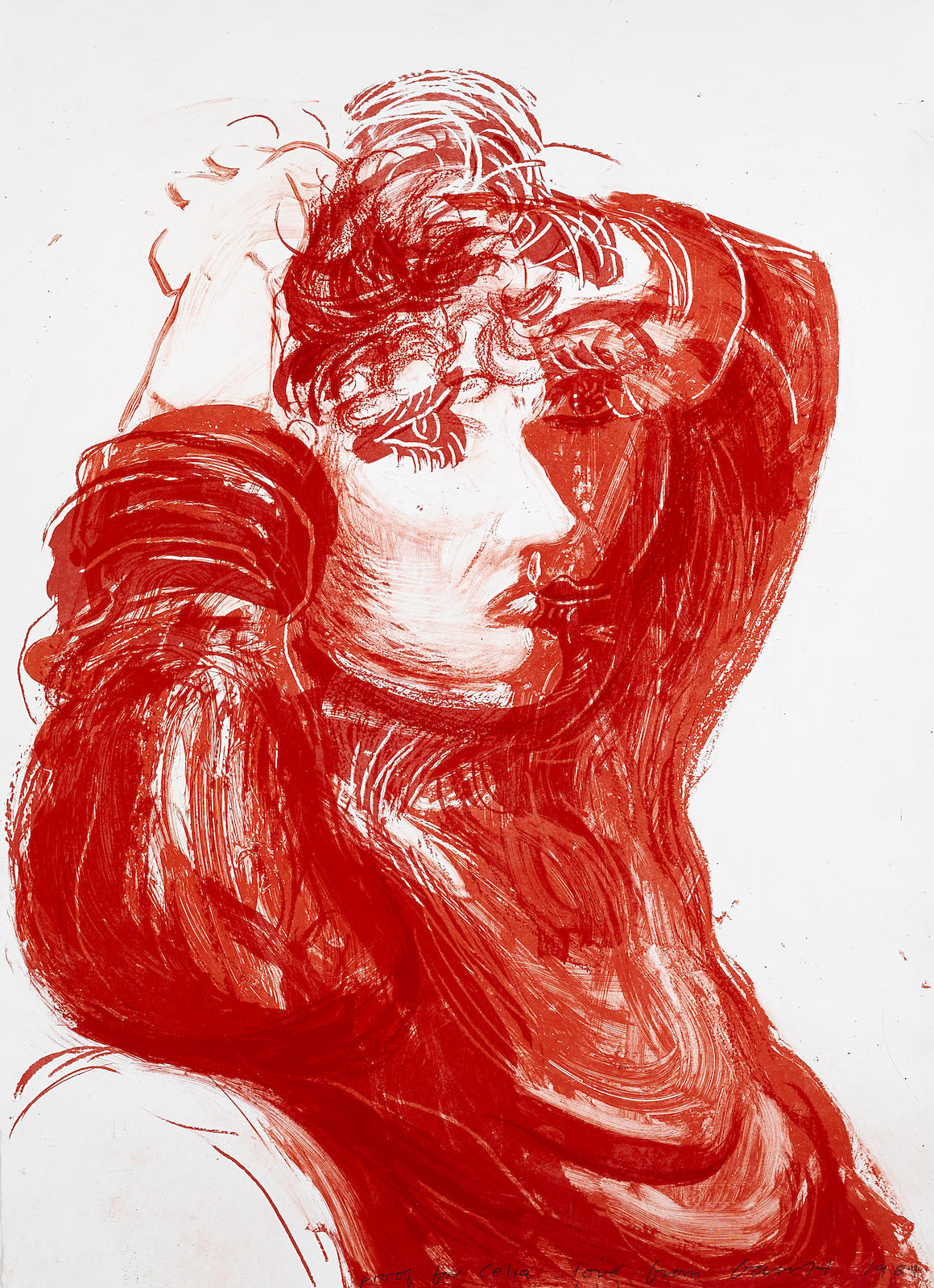 David Hockney-Red Celia (T. 273)-1984