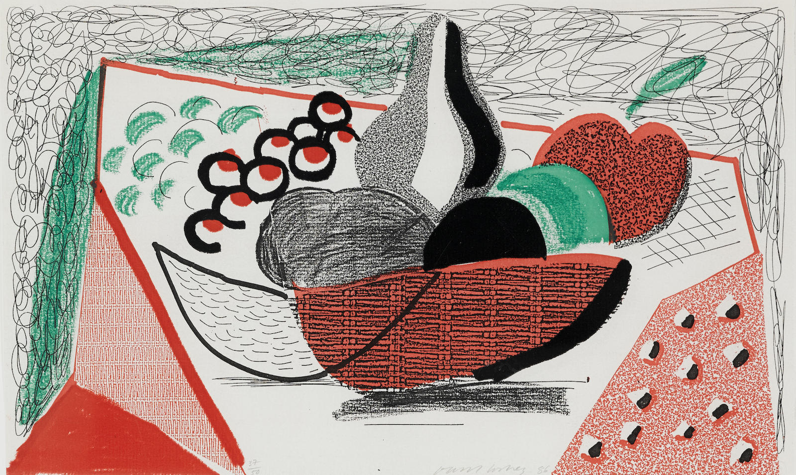 David Hockney-Apples, Pears And Grapes-1986