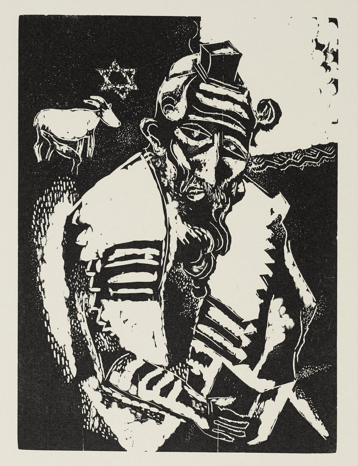 Marc Chagall-A Group Of Six Wood Engravings: Le juif priant (K. 31), La maison (K. 32), L'homme au sac (K. 33), Chevre et violin (K. 34), Juif a la Thora (K. 35), L'écuyere et le coq (K. 84)-1923