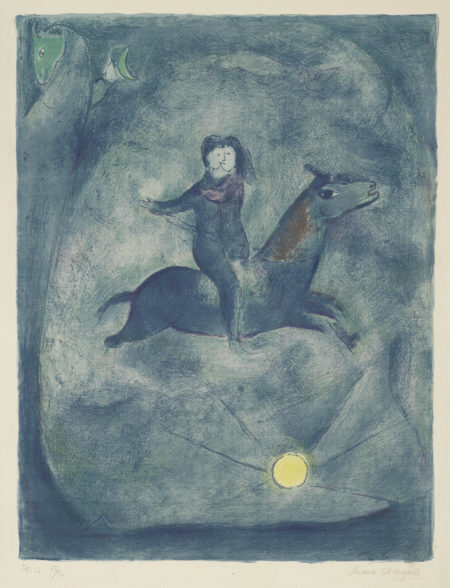 Marc Chagall-Mounting The Ebony Horse, Pl. 12, From Four Tales From The Arabian Nights (M. 47; C. Bk. 18)-1948