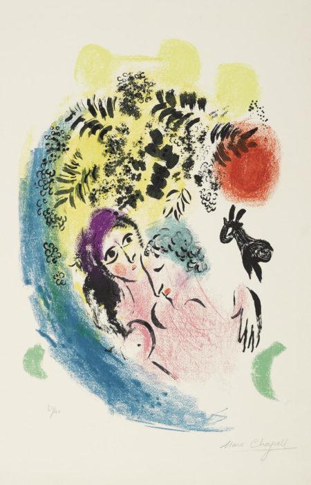Marc Chagall-Les Amoureux Au Soleil Rouge (M. 285; C. Bk. 43)-1960