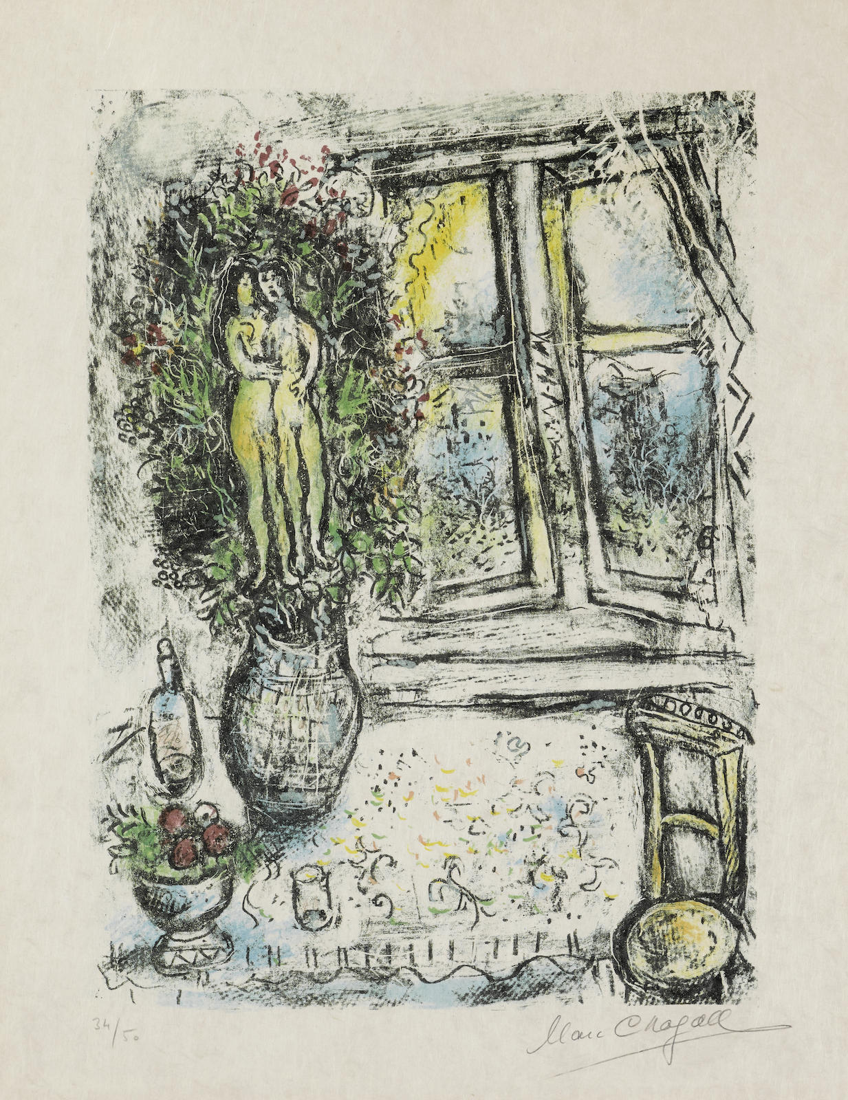Marc Chagall-The Half Opened Window-1975