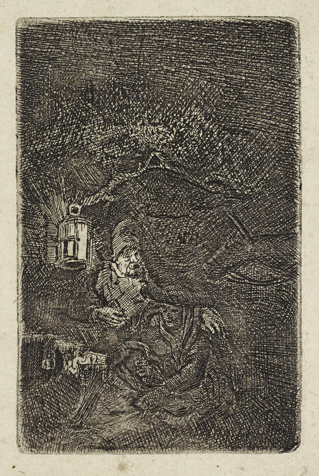 Rembrandt van Rijn-The Rest On The Flight Into Egypt: A Night Piece (B., Holl. 57; H. 208; New Holl. 216)-1644