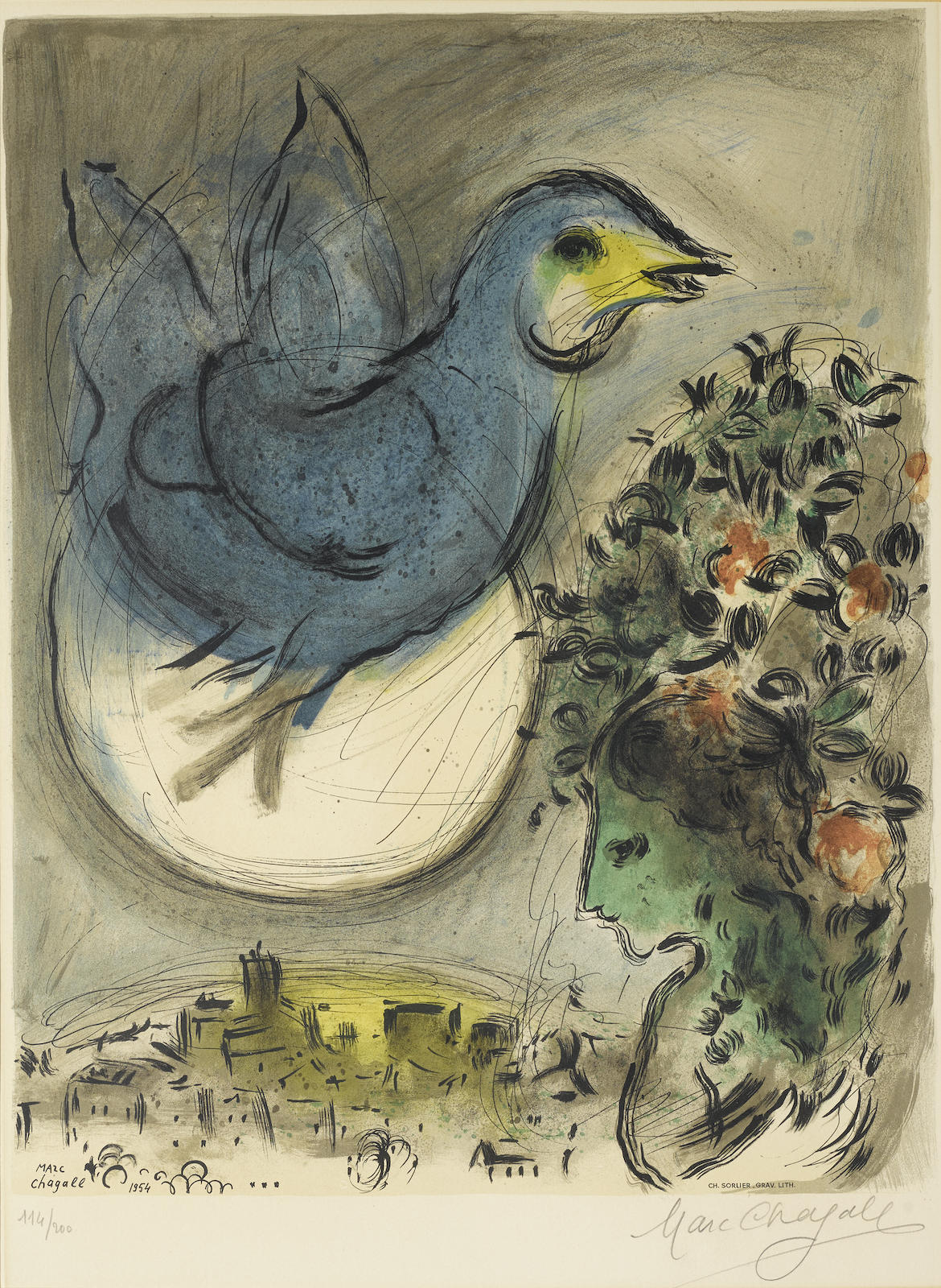 Marc Chagall-After Marc Chagall - The Blue Bird (M. Cs. 41)-1968