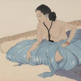 Paul Jacoulet-Sur le Sable. Rhull, Yap; Le Sculpteur de Tokobuei (M. 44; 136)-1954