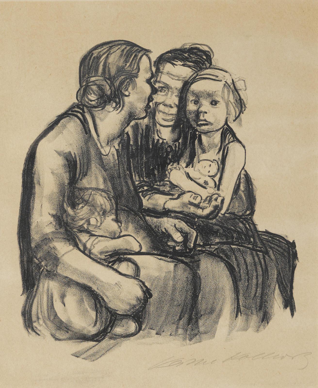Kathe Kollwitz-Zwei Schwatzende, Frauen Mit Zwei Kindernzwei Schwatzende, Frauen Mit Zwei Kindern (K. 240; Kn. 250)-1930