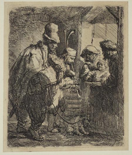 Rembrandt van Rijn-The Strolling Musicians (B., Holl. 119; H. 142; New Holl. 141)-1635