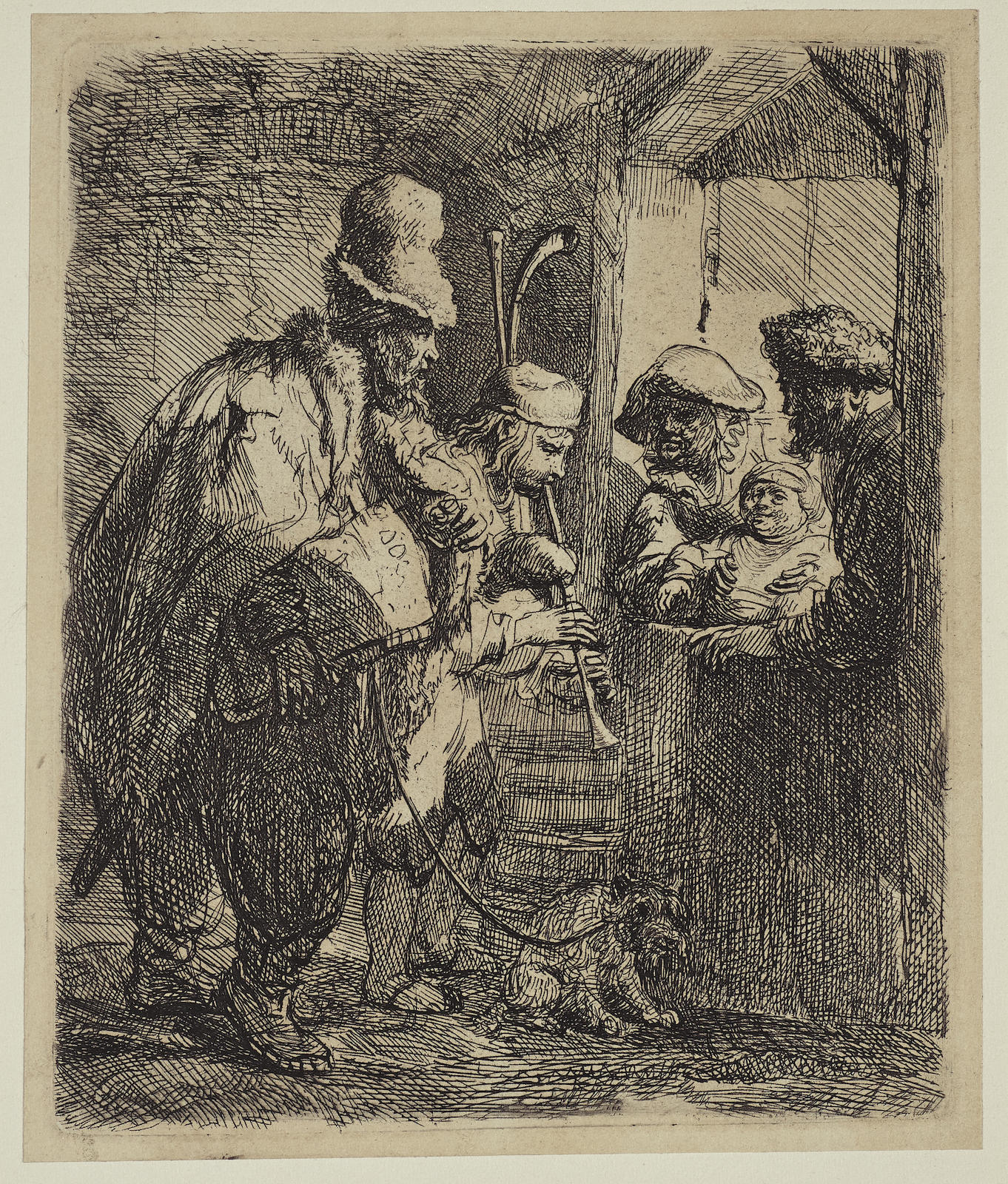 Rembrandt van Rijn-The Strolling Musicians (B., Holl. 119; H. 142; New Holl. 141)-1635
