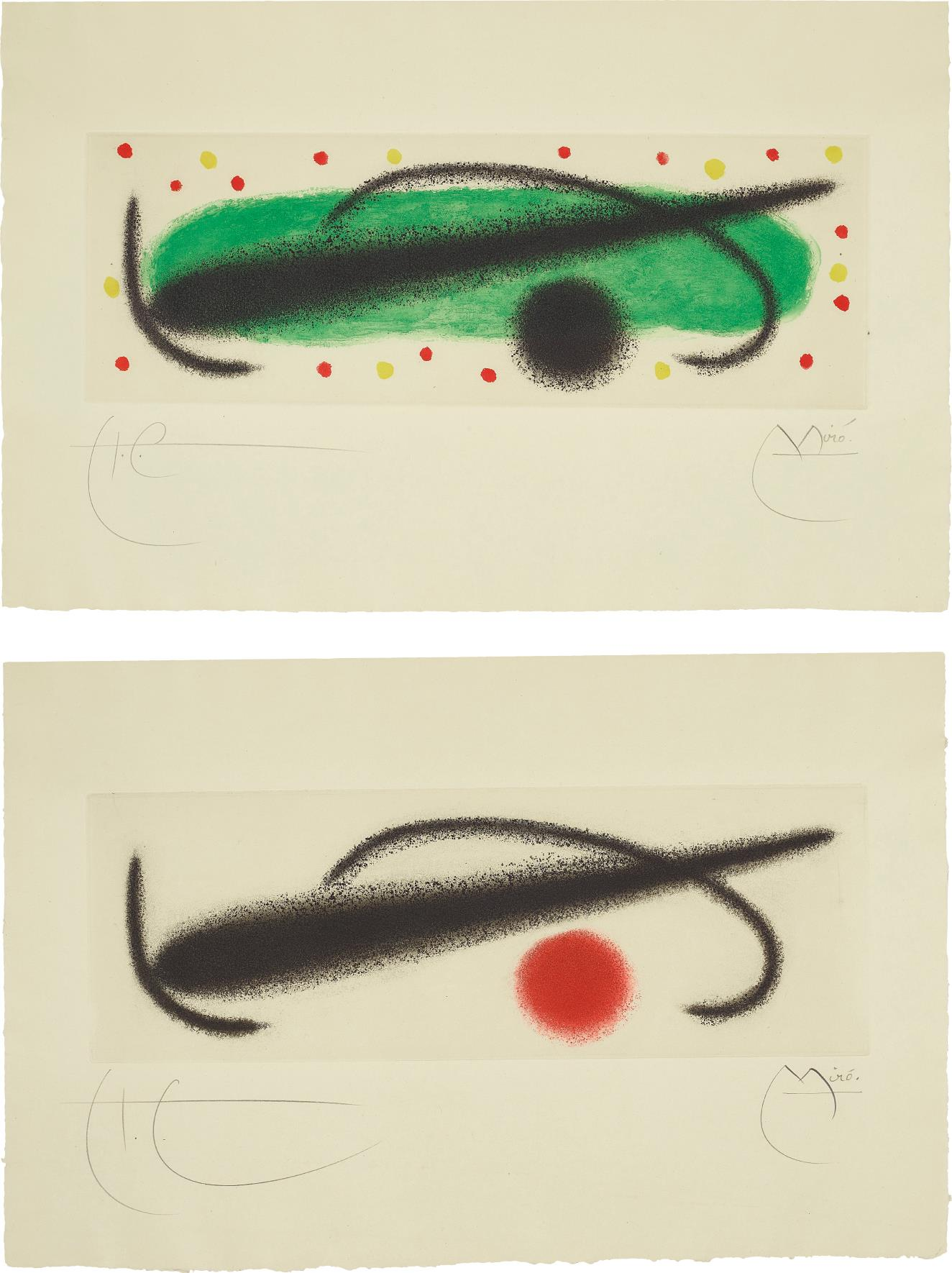 Joan Miro-Fusee (Rocket): Two Plates-1959
