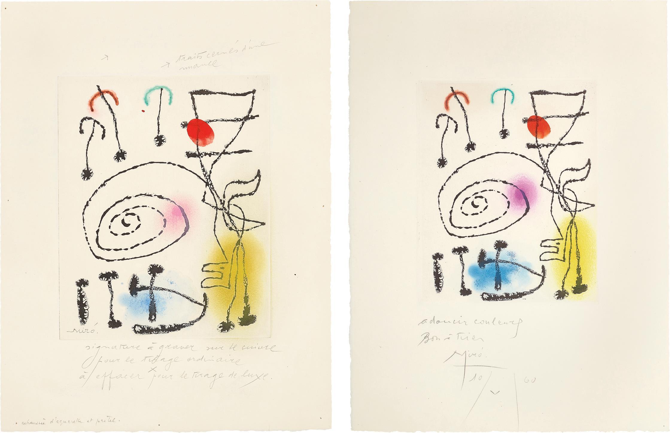 Joan Miro-La Mesure Du Temps (The Measure Of Time): Two Impressions-1960